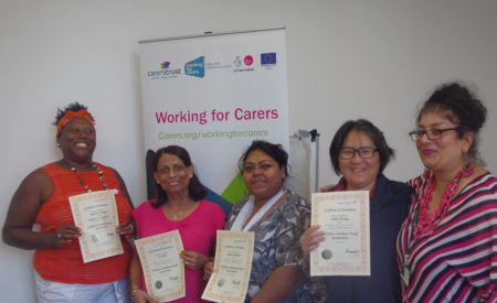 Five women holding certificates